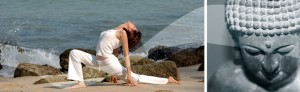Holistic nutritionist doing yoga on the beach, Meditating statue